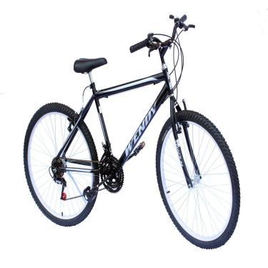 Bicicleta Aro 26 Mtb Wendy 18Marchas Cor Preto Adesivo Prata