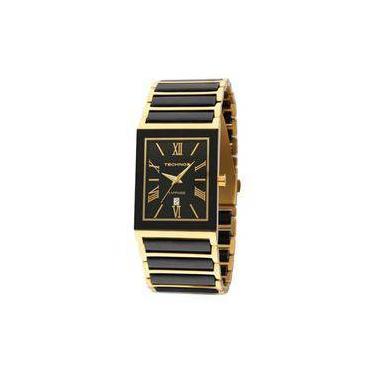 Relógio Feminino Technos Ceramic 2015CF 4P 27mm Aço Dourado Cerâmica Preta c4f8bbf47a