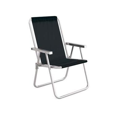 Cadeira De Praia Preta Alumínio Conforto 110kgs Mor