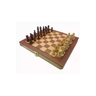 Jogo de Xadrez e Dama 2 em 1 tabuleiro dobrável de madeira tamanho oficial peças em madeira