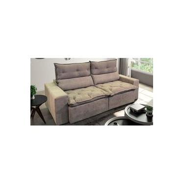 Sofá de Suede Retrátil e Reclinável 02 Módulos de 1,20m 2,90 x 1,15 x 1,20 | Nova Déli Bege