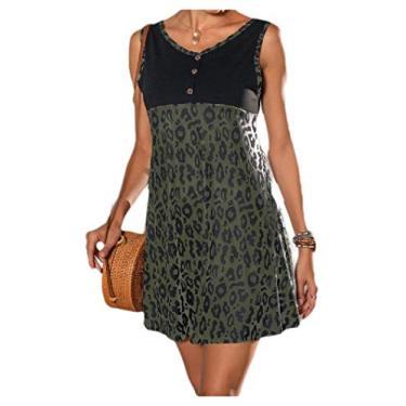 Vestido de festa feminino com estampa de leopardo verão com decote em V e cores vibrantes da Comaba, Verde, X-Small