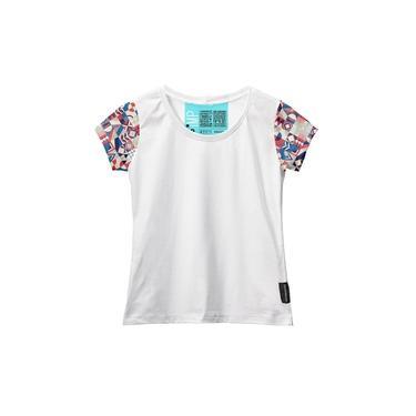 Camiseta Baby Look Feminina Manga Curta Algodão Estampa Moda Branco