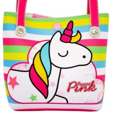 a70fa537e Bolsa Infantil Princesa Pink Listrada Unicórnio Color Multicolorido menina