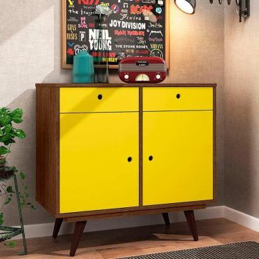 Aparador Buffet Retrô 90 - Olivar - Rustik carvalho / Amarelo