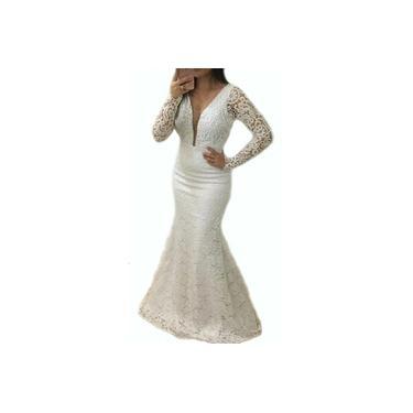 Vestido Longo Renda Civil Casamento Madrinha Festa Noiva