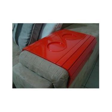 Bandeja Para Braço de Sofá Com Porta Copo Laqueada - Vermelho