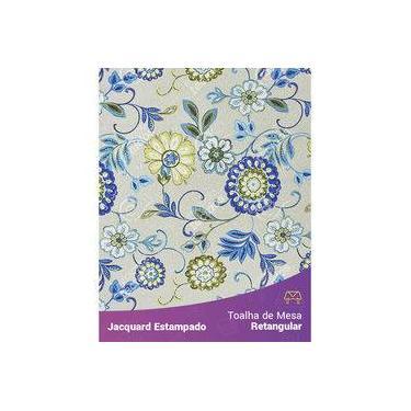 Imagem de Toalha De Mesa Retangular Em Tecido Jacquard Estampado Floral Verde E Azul Fundo Branco