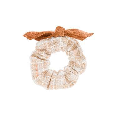 Scrunchie tecido listrado detalhe laço veludo Marrom