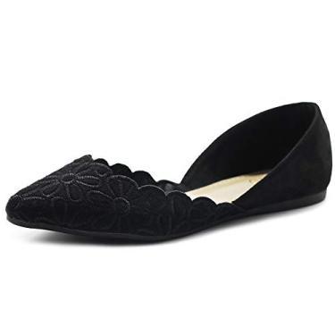 Ollio Sapatos Femininos Camurça Sintética Conforto Floral Bordado Ponta Sapato Sapatilha de Balé F91, Preto, 7