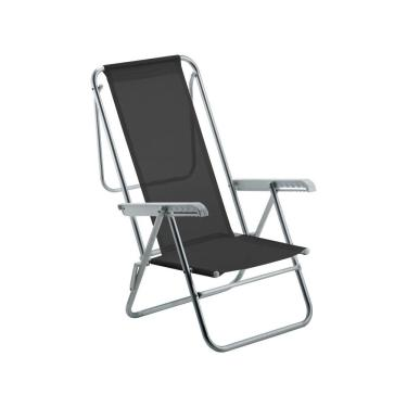 Cadeira De Praia Reclinável Sun Beach Aluminio Preto