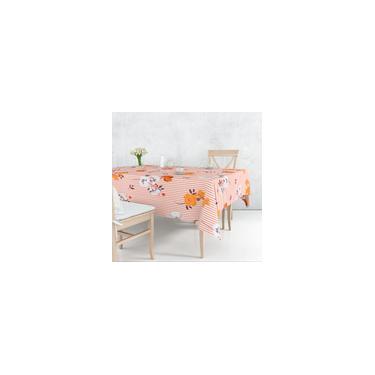 Imagem de Toalha De Mesa Retangular 6 Lugares Tecido Oxford Flores Laranjas Listras - 220x140cm