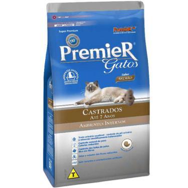 Ração Premier Pet Gatos Castrados até 7 anos Ambientes Internos Salmão - 1,5 Kg