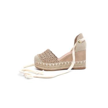 Sandália Plataforma Scarpan Calçados Finos - Trança Bege  feminino