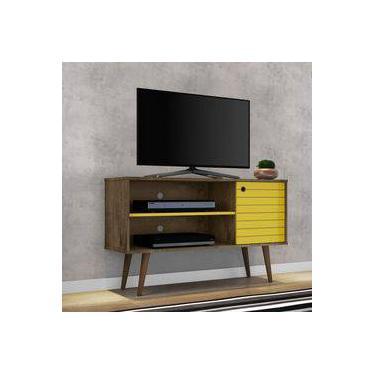 Rack para TV até 42 Polegadas 1 Porta Jade Móveis Bechara Madeira Rústica/Amarelo