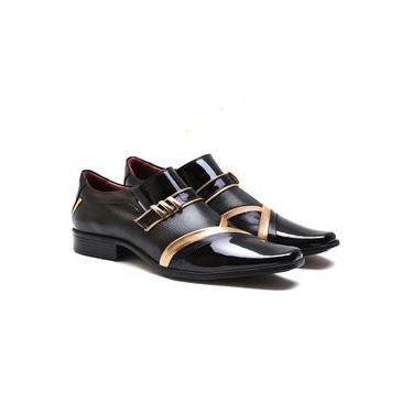 Sapato Social Masculino Couro Legítimo Gofer Verniz Preto e Dourado