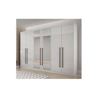a609fa42f Guarda-roupas Com Espelho 100% Mdf 6 Portas E 8 Gavetas Branco Bari Novo