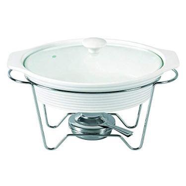 Rechaud Oval em Porcelana com Queimador, L35xp21, 5xa21, 5cm, Branco, Dynasty