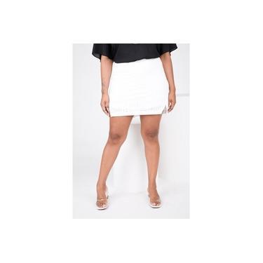 Shorts Saia Malha Laise Com Recorte Off White
