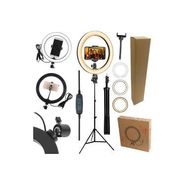 Kit Youtuber Profissional Microfone de Lapela + Tripé Pedestal Ring Light Iluminador Luz Anel Led Flash 26cm 10 Polegadas Suporte Celular Smartphone Iphone Android Universal
