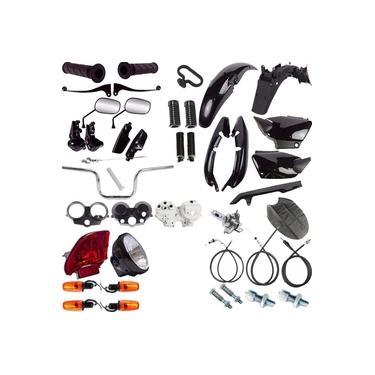 Kit Carenagem + Kit Farol Pisca Cg 125 Fan Titan 00/08 Preto