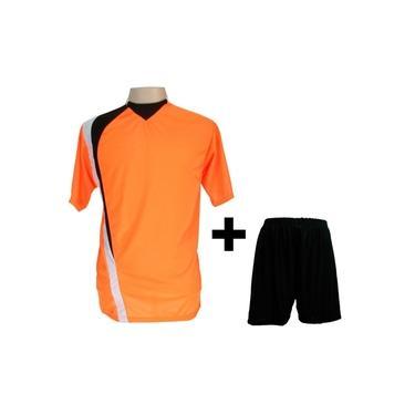 Uniforme Esportivo com 14 camisas modelo PSG Laranja/Preto/Branco + 14 calções modelo Madrid Preto +
