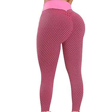 XWU Calça legging feminina de cintura alta TIK Tok para treino, levantamento de bumbum, calça legging texturizada franzida para mulheres, levantamento de bumbum, treino de corrida