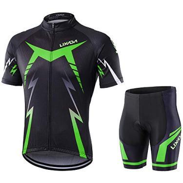 Nishore Conjunto de roupa para ciclismo Camisa de ciclismo Shorts para bicicleta Conjunto de manga curta com proteção para almofada