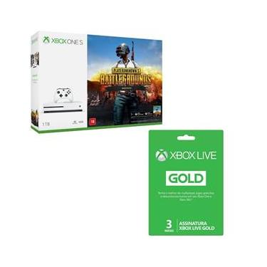 Kit Console Microsoft Xbox One S 1 TB + Playerunknowns Battlegrounds + Live Gold 3 Meses