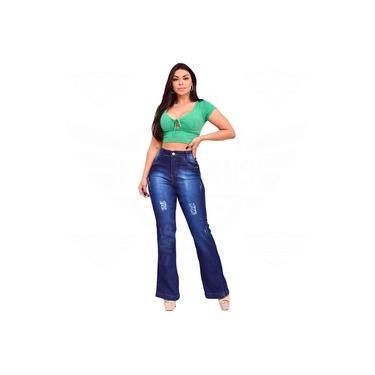 Calça Flare Jeans Feminina Levanta Empina / Bumbum Hot Pants - EWF Jeans - Azul Escuro