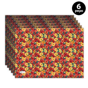 Imagem de Jogo Americano Mdecore Floral 40x28 cm Vermelho 6pçs