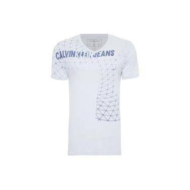 4508de2b47 Camiseta masculina gola v logo frente - azul - calvin klein jeans