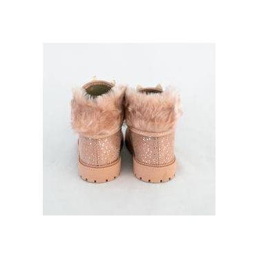 Bota Molekinha 2126.103 Camurça Com Pelos Preto/rosa