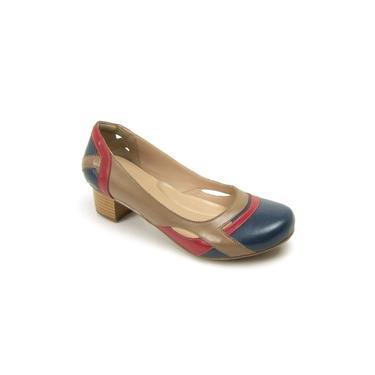 Sapato Boneca Peep Toe Gasparini Azul/rubi/taupe