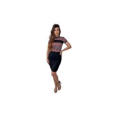 Vestido Midi Preto/Cinza e Rosa Elegante Com Listras 2830