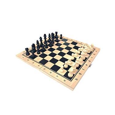 Obobb Conjunto de xadrez 3 em 1 de madeira, jogo de xadrez internacional, jogo de xadrez para adultos e crianças