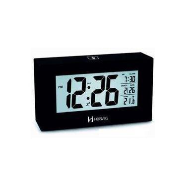 Imagem de Relógio 2972 Despertador Digital Preto Luz Led Sensor Herweg