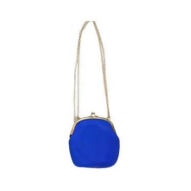 Bolsa De Silicone Vintage Kit 6 Un Azul Com Dourado Tiracolo