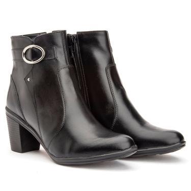 Bota Botinha Coturno Feminino Ankle Boot Em Couro Mod 2801