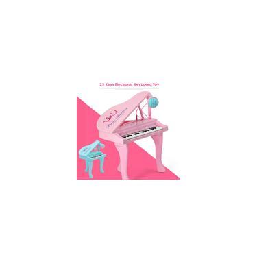 Imagem de Teclado de brinquedo rosa / azul com 25 teclas Órgão eletrônico USB Microfone de piano infantil Instrumento musical Brincando de brinquedos