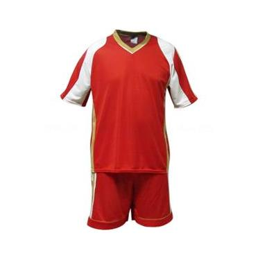 Uniforme Esportivo Texas 1 Camisa de Goleiro Florence + 14 Camisas Texas +14 Calções - Vermelho x Branco x Dourado