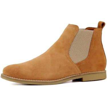 Bota Chelsea Masculina Mr Shoes Camurça Caramelo  masculino