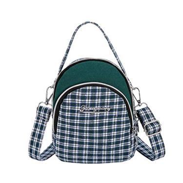 Sxgyubt Bolsa de ombro feminina xadrez fashion bolsa de compras alça de ombro única bolsa de lona com bolsos multifuncionais, Marrom, One Size