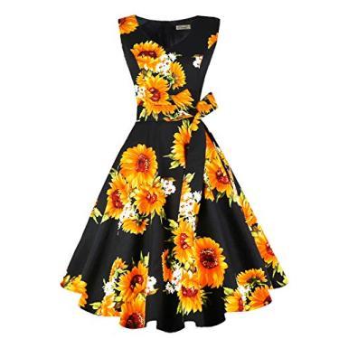 Dressever Vestido de festa sem mangas vintage dos anos 50 e 60, Girassol preto, XXL