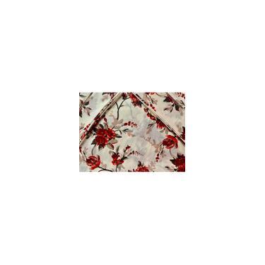 Imagem de Jogo de Lençol Casal Super King 4 Peças Floral Vermelho 100% Algodão