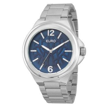 246292b0465 Relógio Feminino Euro Analógico Prata Azul - Eu2039jd 3a
