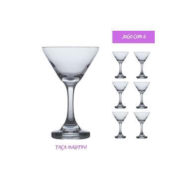 Conjunto 6 Taças de Vidro 274ml MARTINI Cristal luxo Drinks