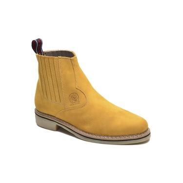 Bota Chelsea Masculina Couro Sola Borracha Conforto Botina Amarelo