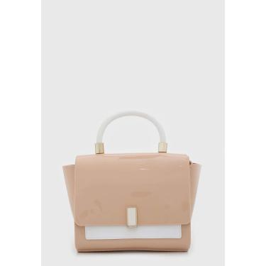 Bolsa Petite Jolie Detalhe Metalizado Bege/Branco Petite Jolie PJ5266 feminino
