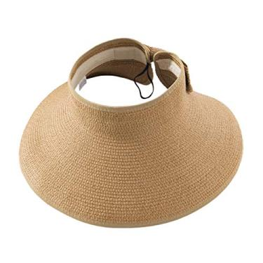 Romacci Chapéu de praia feminino de aba larga com viseira de sol UV FPS 50+, Caqui, tamanho �nico